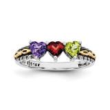 3 Birthstones & 14k Three-stone Mother's Ring Sterling Silver QMR16/3-10