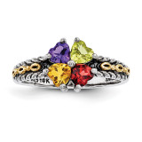 4 Birthstones & 14k Four-stone Mother's Ring Sterling Silver QMR16/4-10