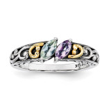 2 Birthstones & 14k Two-stone Mother's Ring Sterling Silver QMR17/2-10