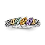 3 Birthstones & 14k Three-stone Mother's Ring Sterling Silver QMR17/3-10