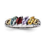 4 Birthstones & 14k Four-stone Mother's Ring Sterling Silver QMR17/4-10