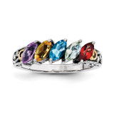 5 Birthstones & 14k Five-stone Mother's Ring Sterling Silver QMR17/5-10