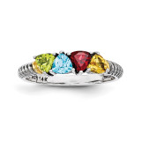 4 Birthstones & 14k Four-stone Mother's Ring Sterling Silver QMR19/4-10