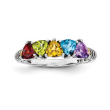 5 Birthstones & 14k Five-stone Mother's Ring Sterling Silver QMR19/5-10