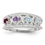 4 Birthstones Family Jewelry Ring Sterling Silver XMR65/4SS-5