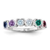 6 Birthstones Mother's Ring Sterling Silver XMR85/6SS-10