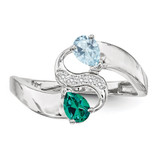 2 Birthstones Imitation and Diamond Couple Ring Sterling Silver XMR89/2SS-10