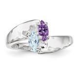 2 Birthstones Mother's Ring Sterling Silver XMR90/2SS-10