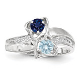 2 Birthstones Imitation and Diamond Couple Ring Sterling Silver XMR91/2SS-10