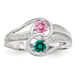 2 Birthstones Imitation and Diamond Couple Ring Sterling Silver XMR93/2SS-10