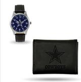 Dallas Cowboys Black Leather Watch & Wallet Set GC4822