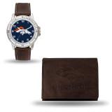 Denver Broncos Brown Leather Watch & Wallet Set GC4855