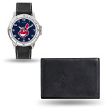 Cleveland Indians Black Leather Watch & Wallet Set GC4916