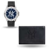 New York Yankees Black Leather Watch & Wallet Set GC4927