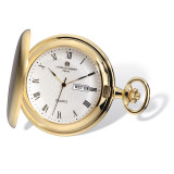 Charles Hubert Gold Finish Satin White Dial Day/Date Pocket Watch XWA4913