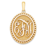 Antiqued or Sandblast Monogram Pendant 14k Yellow Gold Casted High Polished XNA525Y