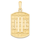 Antiqued or Sandblast Monogram Pendant 14k Yellow Gold Casted High Polished XNA526Y