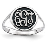 Antiqued or Sandblast Monogram Ring 14k White Gold Casted High Polished XNR68W