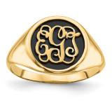 Antiqued or Sandblast Monogram Ring 14k Yellow Gold Casted High Polished XNR68Y