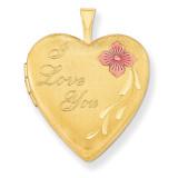 1/20 Gold Filled 20mm Enameled I Love You Heart Locket 1/20 Gold Filled 20mm QLS276-18