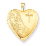 1/20 Gold Filled 20mm Cross & Footprint Heart Locket 1/20 Gold Filled 20mm QLS279-18