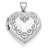 Domed Heart Locket 14k White Gold XL187