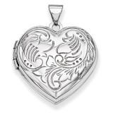 Domed Heart Locket 14k White Gold XL188
