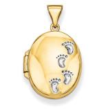 Footprints Locket 14k Yellow Gold XL300
