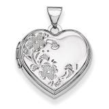 Polished Heart-Shaped Floral Locket 14k White Gold XL322