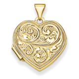 Scrolled Love you always Heart Locket 14k Yellow Gold XL326