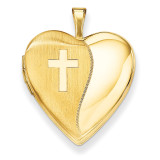 Polished Satin with Cross Heart Locket 14k Gold 20mm XL582
