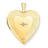 Side Swirls with Diamond Heart Locket 14k Gold 20mm XL596