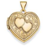 Double Heart Locket 14k Yellow Gold XL78