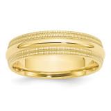 6mm Double Milgrain Comfort Fit Band 10k Yellow Gold Engravable 1DMC060-10