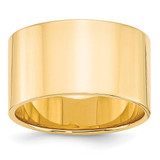12mm Lightweight Flat Band 14k Yellow Gold Engravable FLL120-13.5