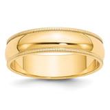 6mm Milgrain Half-Round Wedding Band 14k Gold Engravable M060-10