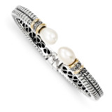 11.5mm Cultured Pearl & Diamond Cuff Bangle Sterling Silver & 14k Gold QTC100 by Shey Couture MPN: QTC100