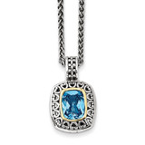 Light Swiss Blue Topaz Necklace Sterling Silver & 14k Gold Antiqued QTC1060 by Shey Couture MPN: QTC1060