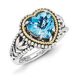 Blue Topaz Heart Ring Sterling Silver & 14k Gold Antiqued QTC1114 by Shey Couture MPN: QTC1114
