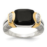 Black Onyx and .02ct Diamond Ring Sterling Silver & 14k Gold QTC1206 by Shey Couture MPN: QTC1206