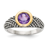 Amethyst Ring Sterling Silver & 14k Gold QTC1243 by Shey Couture MPN: QTC1243