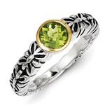 Peridot Ring Sterling Silver & 14k Gold QTC141 by Shey Couture MPN: QTC141