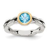 1.35 Sky Blue Topaz Ring Sterling Silver & 14k Gold QTC148 by Shey Couture MPN: QTC148