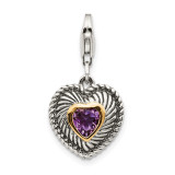 Amethyst Antiqued Charm Sterling Silver & 14k Gold QTC304 by Shey Couture MPN: QTC304