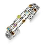1.74tw Gemstone Cuff Bracelet Sterling Silver & 14k Gold QTC34 by Shey Couture MPN: QTC34