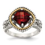 Garnet Ring Sterling Silver & 14k Gold QTC354 by Shey Couture MPN: QTC354