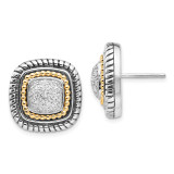 1/10ct. Diamond Post Earrings Sterling Silver & 14k Gold QTC6 by Shey Couture MPN: QTC6