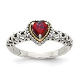 Garnet Ring Sterling Silver & 14k Gold QTC663 by Shey Couture MPN: QTC663