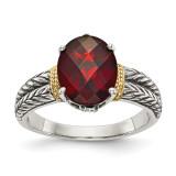 Garnet Ring Sterling Silver & 14k Gold QTC664 by Shey Couture MPN: QTC664