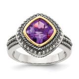 Amethyst Ring Sterling Silver & 14k Gold QTC715 by Shey Couture MPN: QTC715